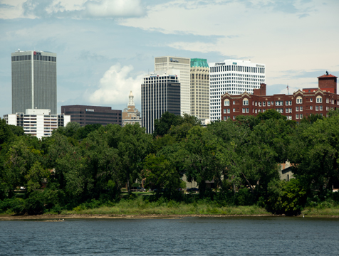 Photo of part of Tulsa's skyline buildings